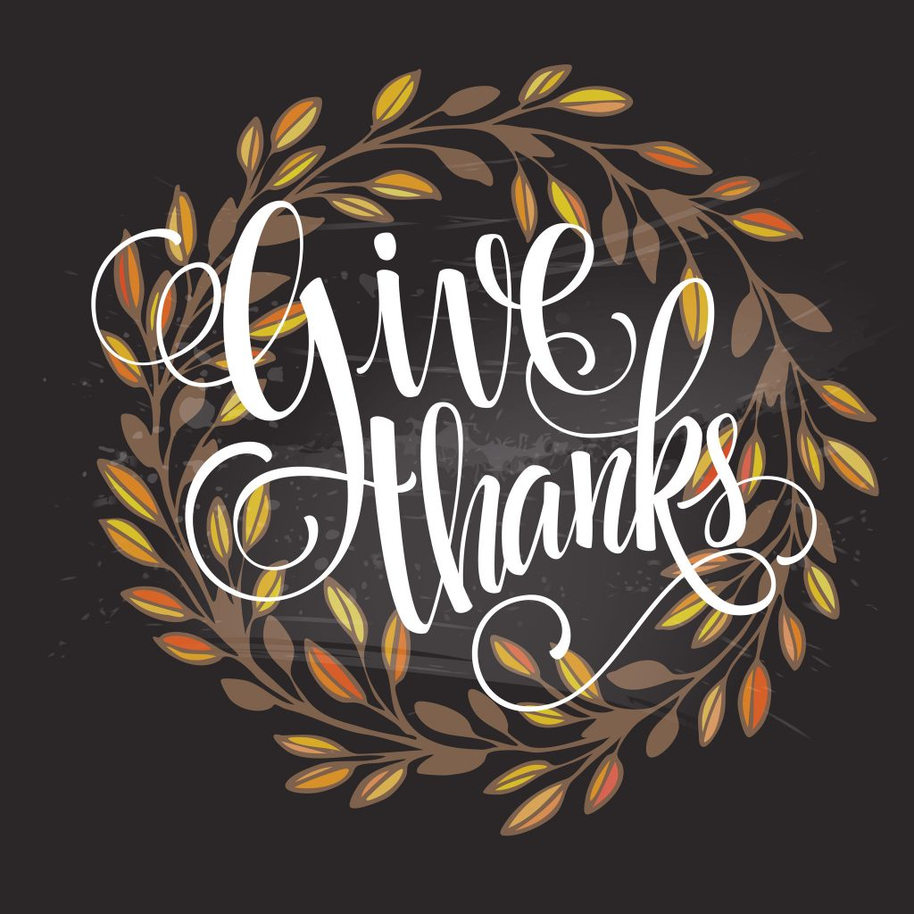 Give Thanks vector with leaves