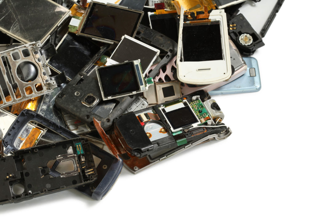 Old electronics pile