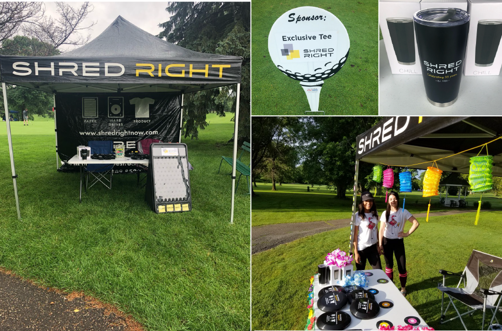 Collage image of Shred Right tents, signage, promotional items and Shred Right staff at golf events